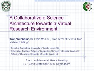 A Collaborative e-Science Architecture towards a Virtual Research Environment