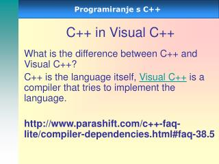 C++ in Visual C++