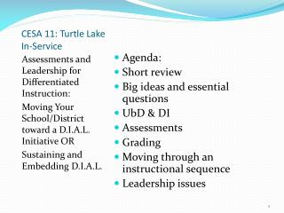CESA 11: Turtle Lake In-Service