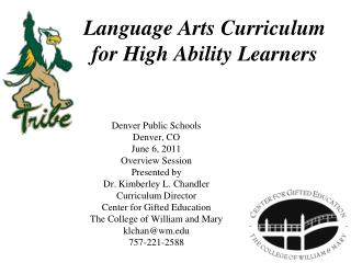 Language Arts Curriculum  for High Ability Learners