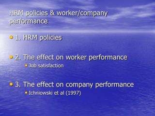 HRM policies & worker/company performance