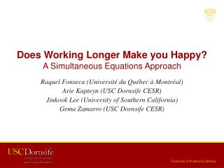 Does Working Longer Make you Happy? A Simultaneous Equations Approach