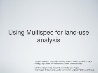 Using Multispec for land-use analysis