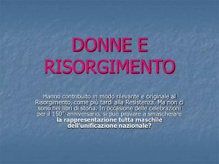 DONNE E RISORGIMENTO