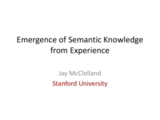 Organization of Semantic Memory