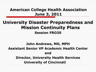 American College Health Association June 3, 2011