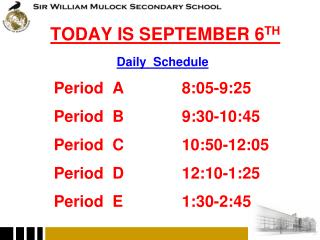 TODAY IS SEPTEMBER 6 TH