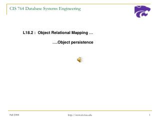 CIS 764 Database Systems Engineering