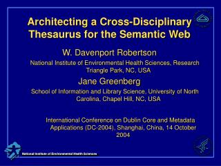 Architecting a Cross-Disciplinary Thesaurus for the Semantic Web