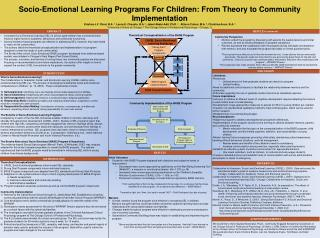 Socio-Emotional Learning Programs For Children: From Theory to Community Implementation