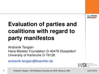 Evaluation of parties and coalitions with regard to party manifestos