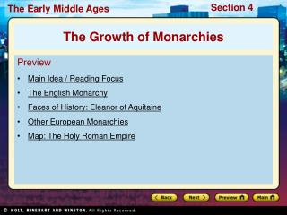 Preview Main Idea / Reading Focus The English Monarchy  Faces of History: Eleanor of Aquitaine Other European Monarchies
