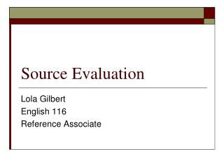 Source Evaluation