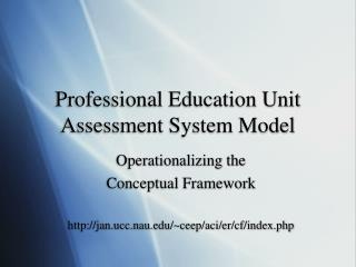 Professional Education Unit Assessment System Model