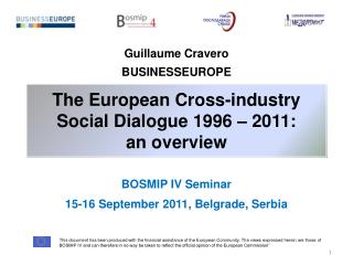 The European Cross-industry Social Dialogue 1996 – 2011:  an overview