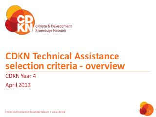 CDKN Technical Assistance selection criteria - overview