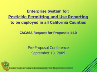 Pre-Proposal Conference September 10, 2009
