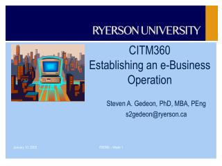 CITM360 Establishing an e-Business Operation