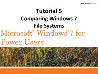 Tutorial 5 Comparing Windows 7  File Systems