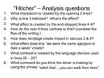 Hitcher    Analysis questions