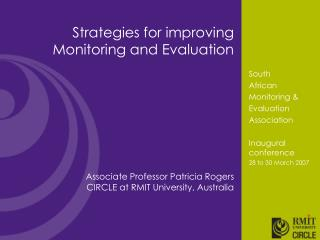Strategies for improving Monitoring and Evaluation