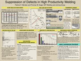 Suppression of Defects in High Productivity Welding