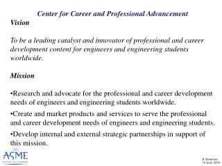 Center for Career and Professional Advancement Vision