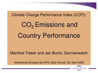 Climate Change Performance Index (CCPI): CO 2  Emissions and Country Performance