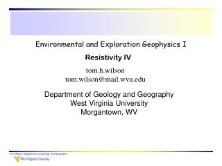 Environmental and Exploration Geophysics I