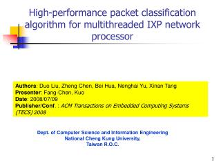 High-performance packet classification algorithm for multithreaded IXP network processor
