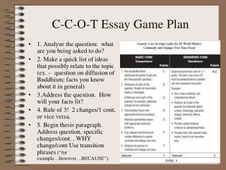 C-C-O-T Essay Game Plan