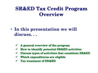 SR&ED Tax Credit Program Overview