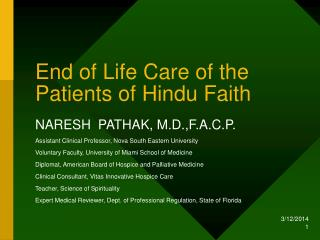 End of Life Care of the Patients of Hindu Faith