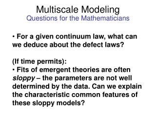 Multiscale Modeling