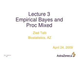 Lecture 3 Empirical Bayes and  Proc Mixed
