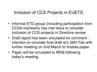 Inclusion of CCS Projects in EUETS