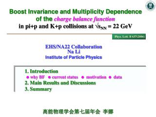 EHS/NA22 Collaboration Na Li  Institute of Particle Physics