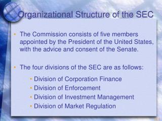 Organizational Structure of the SEC
