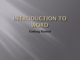 Introduction To word