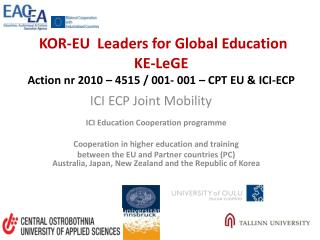ICI  Education  Cooperation programme Cooperation in higher education and training
