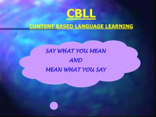 CBLL CONTENT BASED LANGUAGE LEARNING