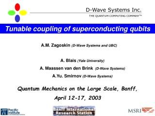 D-Wave Systems Inc. THE QUANTUM COMPUTING COMPANY TM