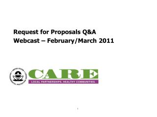 Request for Proposals Q&A Webcast – February/March 2011