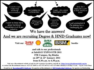 We have the answers  And we are recruiting Degree  HND Graduates now