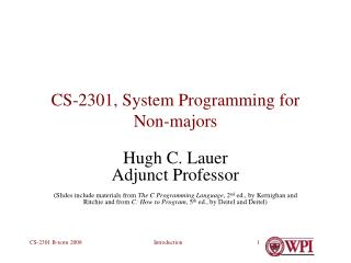 CS-2301, System Programming for Non-majors