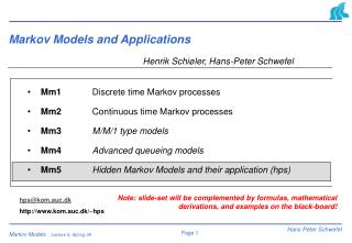 Markov Models and Applications