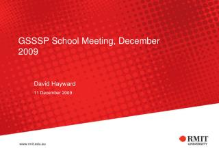 GSSSP School Meeting, December 2009