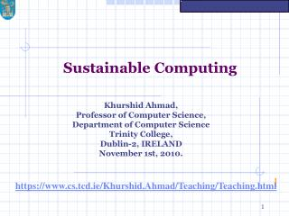 Sustainable Computing