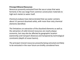 Principal Mineral Resources