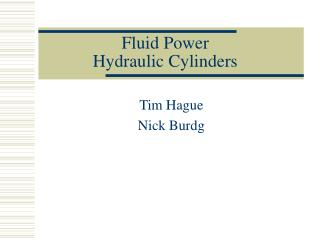 Fluid Power Hydraulic Cylinders